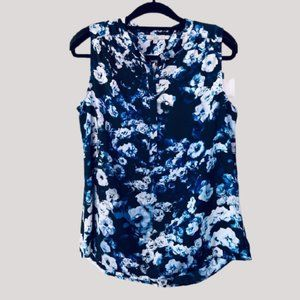DALIA Women's Floral Sleeveless Tunic Blue Large